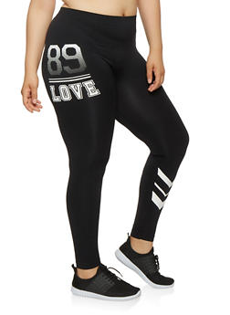 Plus Size Love Graphic Leggings - 3969001441068