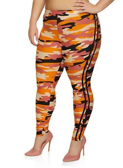 Plus Size Camo Varsity Stripe Leggings - 3969001441131