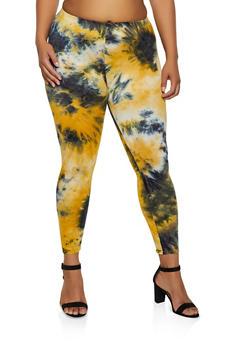 Plus Size Tie Dye Soft Knit Leggings - 3969001441136