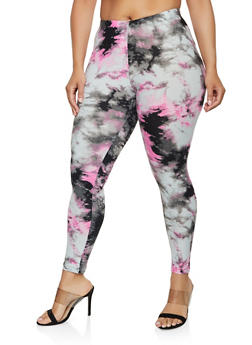 Plus Size Soft Knit Tie Dye Leggings - 3969001441144