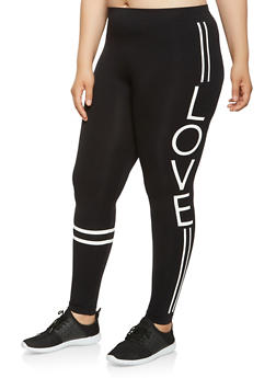 Plus Size Love Graphic Leggings - 3969001441268