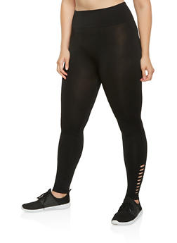 Plus Size Laser Cut Detail Leggings - 3969001441298