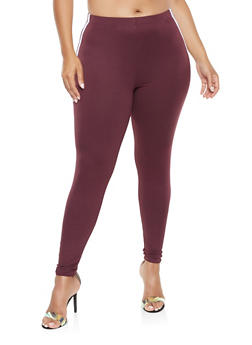 Plus Size Varsity Stripe Leggings - 3969001441316