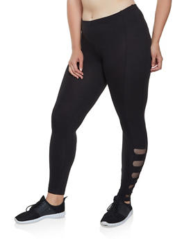Plus Size Caged Mesh Insert Leggings - 3969001441332