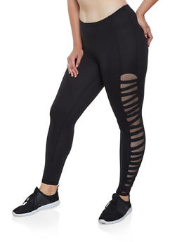 Plus Size Caged Mesh Insert Soft Knit Leggings - 3969001441333