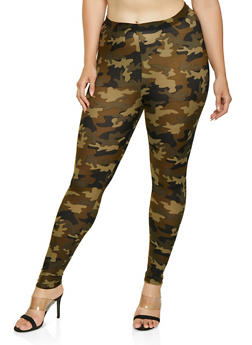 Plus Size Camo Soft Knit Leggings - 3969001441350