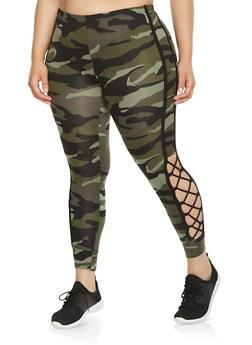Plus Size Lace Up Side Camo Leggings - 3969001441356