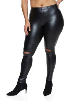Plus Size Faux Leather Slit Knee Leggings - 3969001443130