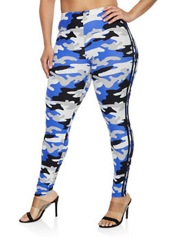 Plus Size Camo Varsity Stripe Leggings | 3969001443162 - 3969001443162