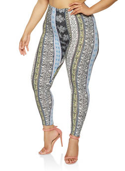Plus Size Printed Soft Knit Leggings - 3969001444049