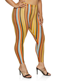 Plus Size Striped Soft Knit Leggings | 3969001444913 - 3969001444913