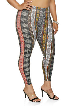 Plus Size Mixed Print Leggings - 3969001444922