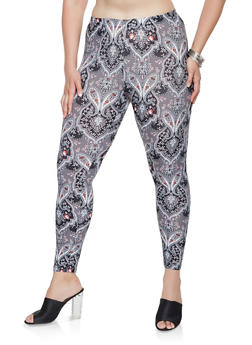 Plus Size Paisley Print Soft Knit Leggings - 3969001444930