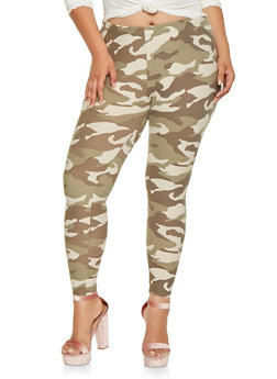 Plus Size Soft Knit Camo Leggings - 3969001444949