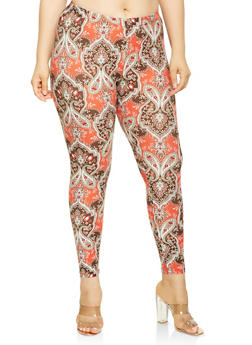 Plus Size Paisley Print Soft Knit Leggings - 3969001449949
