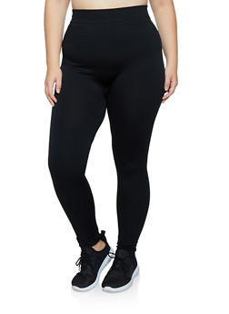 Plus Size Solid Fleece Lined Leggings - 3969051063962