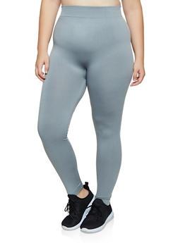 Plus Size Solid Fleece Lined Leggings - 3969051063962
