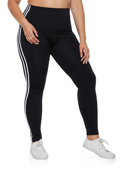 Plus Size Fleece Lined Varsity Stripe Leggings - 3969051064122