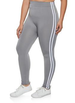 Plus Size Fleece Lined Varsity Stripe Leggings - 3969051064122