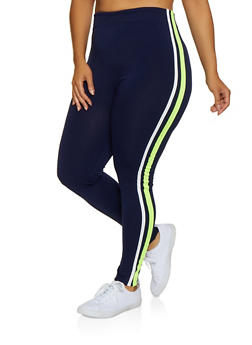 Plus Size Varsity Stripe Leggings | 3969051064393 - 3969051064393