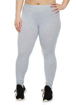 Plus Size Solid Leggings - 3969054260001