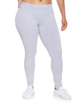 Plus Size Solid Leggings - 3969054260001