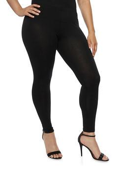 Plus Size Solid Leggings - 3969054266161