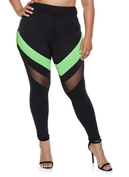 Plus Size Color Block Mesh Insert Leggings - 3969060580503