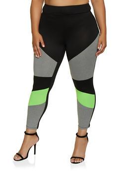 Plus Size Soft Knit Color Block Leggings - 3969060580504