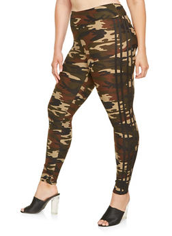 Plus Size Camo Varsity Stripe Leggings - 3969060582374