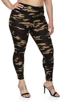 Plus Size Camo Soft Knit Leggings | 3969060582375 - 3969060582375