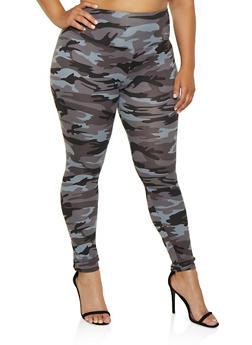 Plus Size Camo Leggings - 3969060583760