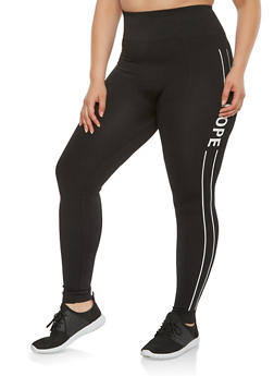 Plus Size Nope Graphic Athletic Leggings - 3969061630028