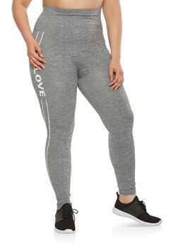 Plus Size Love Graphic Pintuck Leggings - 3969061630061