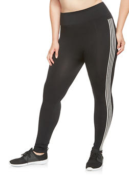 Plus Size Striped Graphic Pintuck Leggings - 3969061630063