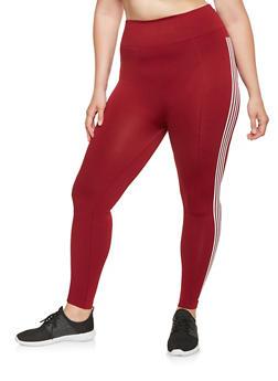 Plus Size Striped Graphic Pintuck Leggings - 3969061630063