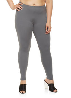 Plus Size Solid Soft Knit Leggings - 3969061630091