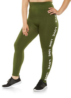 Plus Size Love Graphic Leggings - 3969061630124
