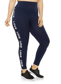 Plus Size Love Graphic Leggings - 3969061630124