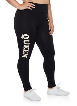 Plus Size Queen Graphic Pintuck Leggings - 3969061630181
