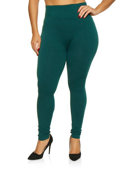 Plus Size Basic French Terry Lined Leggings - 3969061630289
