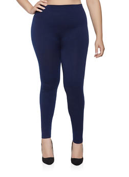 Plus Size French Terry Lined Leggings - 3969061630289