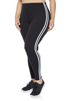 Plus Size Side Stripe Leggings - 3969061630918