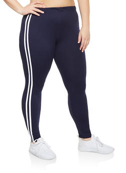 Plus Size Athletic Stripe Soft Knit Leggings - 3969061631008