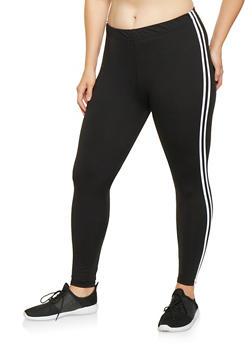 Plus Size Varsity Stripe Leggings - 3969061632049