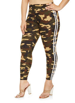 Plus Size Side Stripe Camo Leggings - 3969061632059