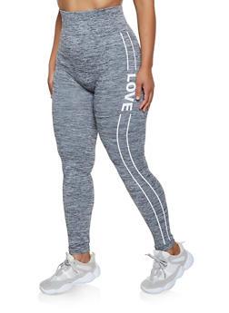 Plus Size Love Striped Detail Leggings - 3969061632492