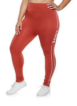 Plus Size Pintuck Love Graphic Leggings - 3969061632494