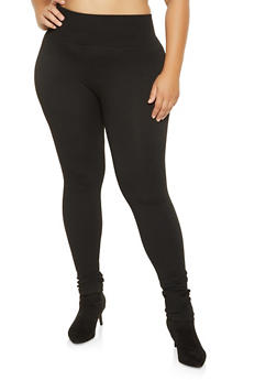 Plus Size Solid Knit Leggings - 3969061633089