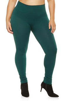 Plus Size Solid Knit Leggings - 3969061633089